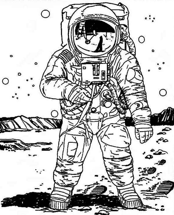 a realistic image of astronaut in the moon coloring page