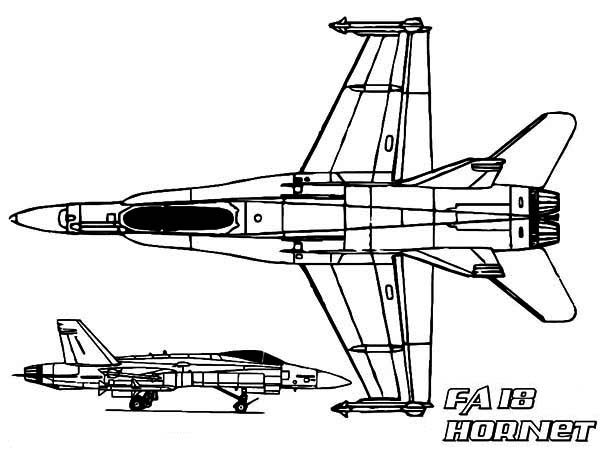FA 18 Hornet jet fighter Airplane Coloring Page - Download ...