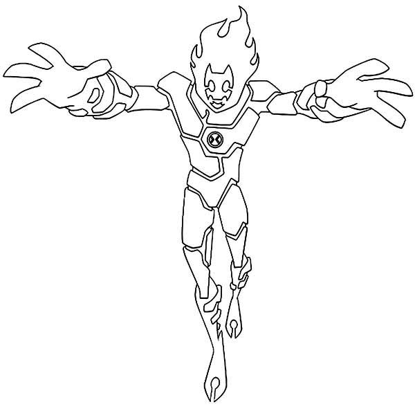 Heat blast coloring pages ~ Heatblast is Ready to Attack Coloring Page - Download ...
