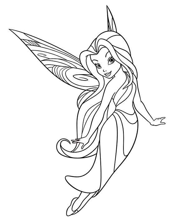 tinkerbell silver mist coloring pages | Silvermist Flying in Disney Fairies Coloring Page ...
