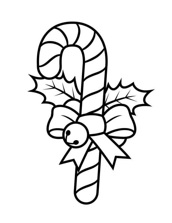 Candy Cane with Ribbon and Little Bell Coloring Page ...