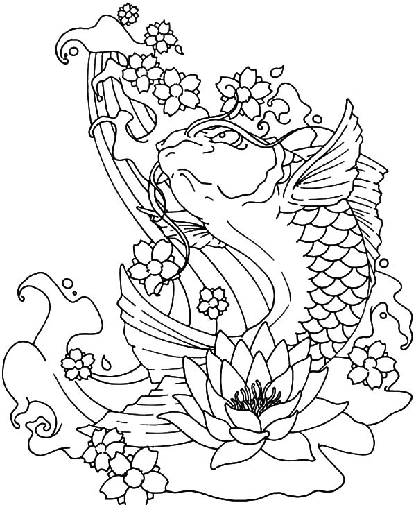 Koi Fish Tattoo Coloring Pages Sketch Coloring Page