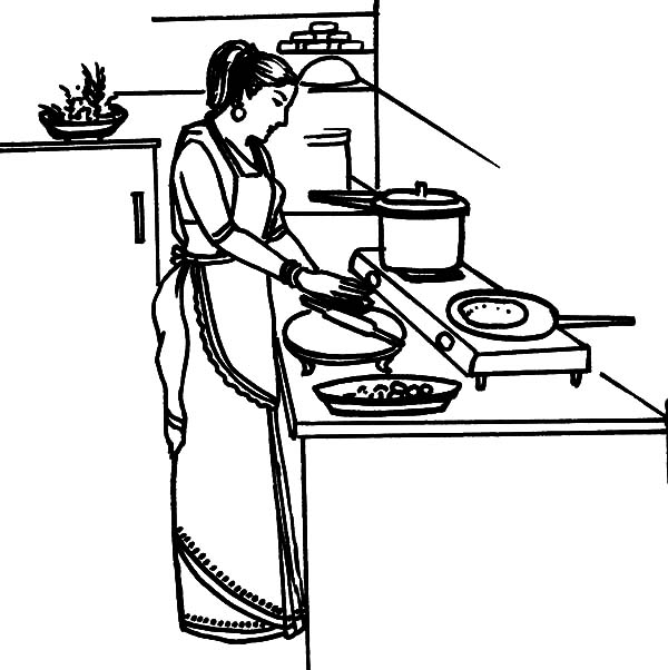 Kitchen Design Drawing With Color: Kitchen Coloring Pages Mother Cooking Dinner In The Sketch Coloring Page