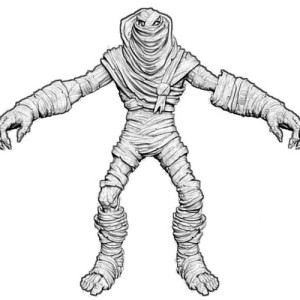3D Mummy Front View Free Coloring Page