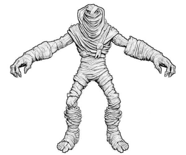 3d Mummy Front View Free Coloring Page Download Print