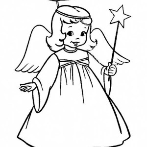 A Charming Little Girl In Angel Costume On Christmas Coloring Page