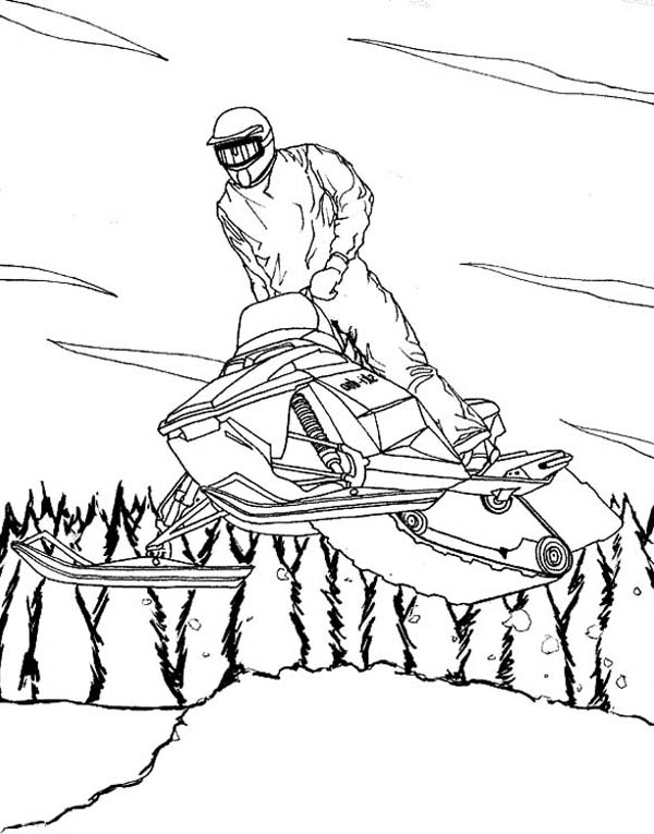 A Cool Winter Snowmobile On Action Coloring Page