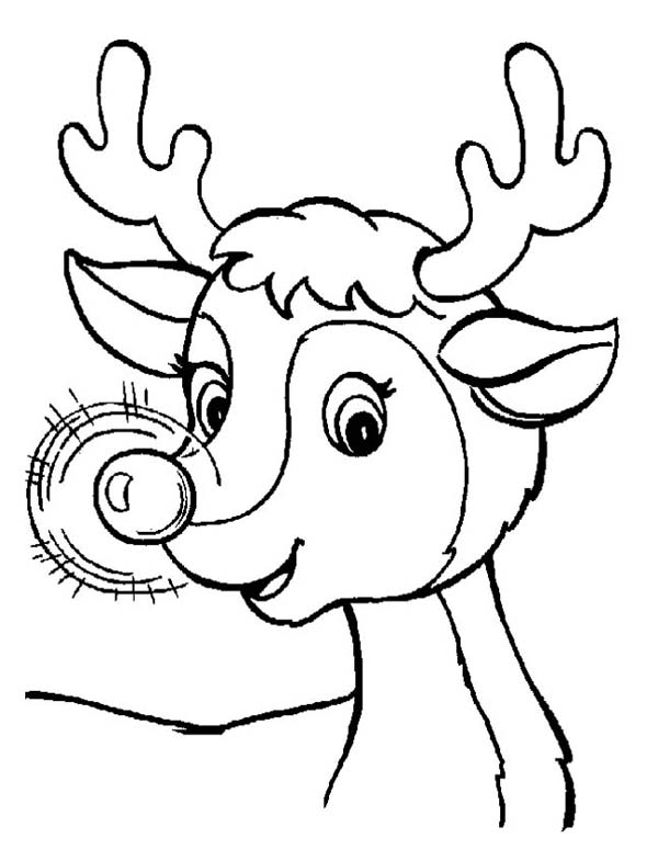 A Cute Christmas Reindeer with Glowing Nose Coloring Page ...