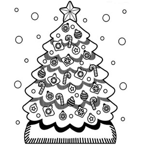 A Cute Christmas Tree In Snow Coloring Page