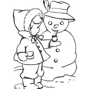 A Cute Kid Putting A Pipe On Winter Snowman Coloring Page
