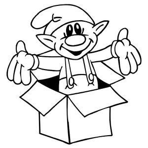A Cute Little Elf Giving A Christmas Surprise Coloring Page
