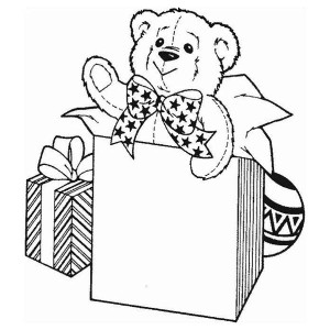 A Cute Teddy Bear For Christmas Presents Coloring Page