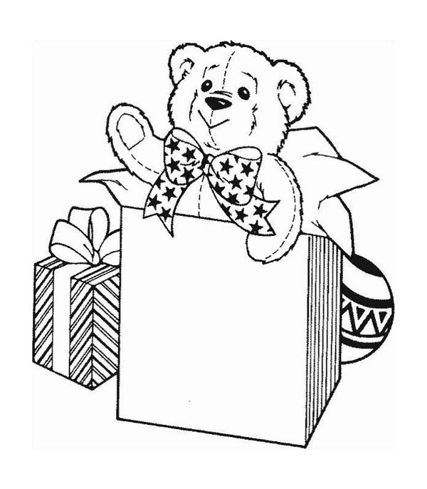 A Cute Teddy Bear For Christmas Presents Coloring Page Download