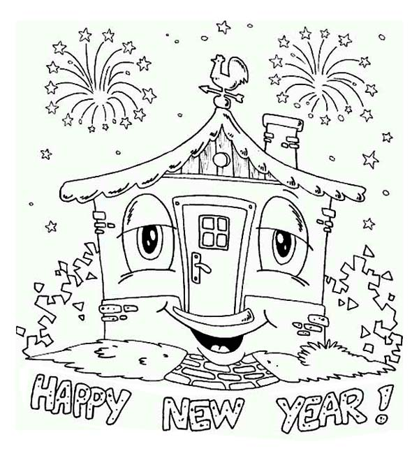 A Happy New Years Party In The House Coloring Page ...