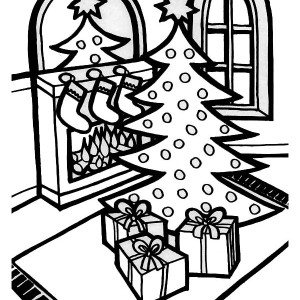 A Lovely Christmas Tree Lineart Coloring Page