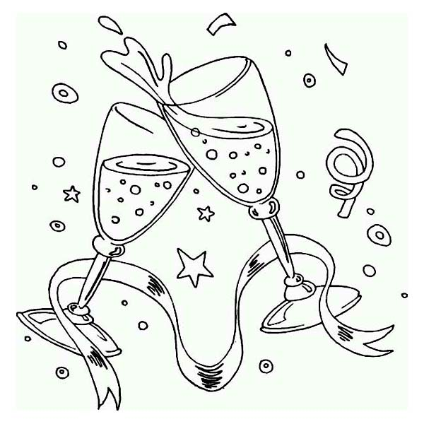 A New Years Toast On The Party Coloring Page - Download ...