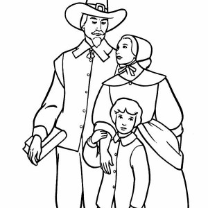 A Pilgrim Family On Thanksgiving Day Coloring Page