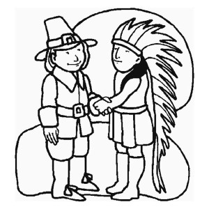 A Pilgrim And Indian Chief Shaking Hand On Thanksgiving Day Coloring Page