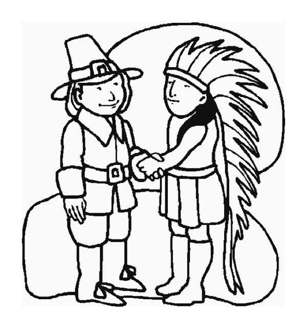 A Pilgrim And Indian Chief Shaking Hand On Thanksgiving ...