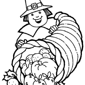 A Pligrim Gentlemen With Thanksgiving Day Cornucopia Basket Coloring Page