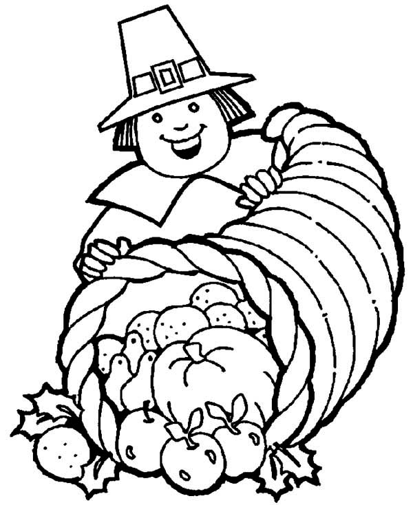 turkey and cornucopia coloring pages | A Pligrim Gentlemen With Thanksgiving Day Cornucopia ...