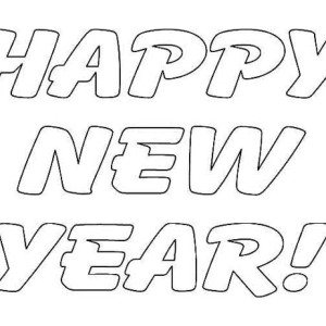 A Simple Text Of Happy New Year Coloring Page