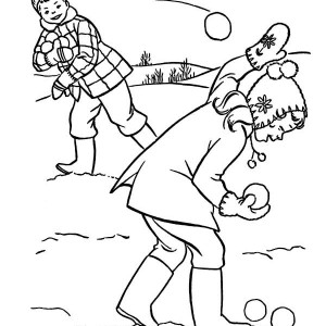 A Snowball Fight With Friends During Winter  Coloring Page