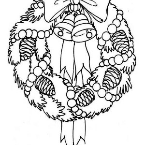 A Sweet Christmas Wreath For Hanging Decor Coloring Page
