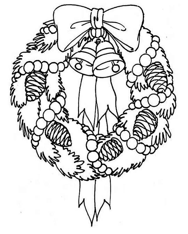 A Sweet Christmas Wreath For Hanging Decor Coloring Page Download