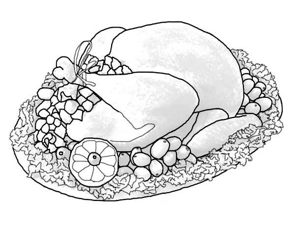 thanksgiving dinner coloring pages free | A Whole Turkey Sets Of Thanksgiving Day Dinner Menu ...