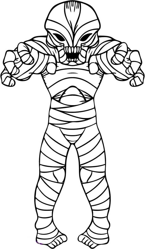 Alien Style Mummy Free Coloring Page Download Print