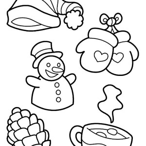 All Kind Of Winter Season Symbols Coloring Page
