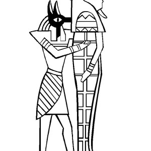 Anubis Holding Mummy Sarcophagus Free Coloring Page