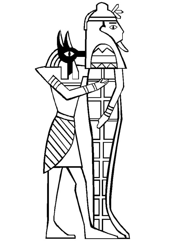 Anubis Holding Mummy Sarcophagus Free Coloring Page Download