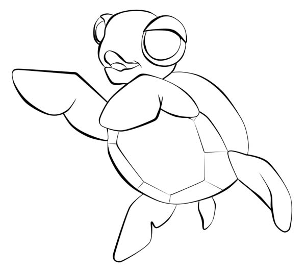 Baby Sea Turtle Sketch Line Art Free Coloring Page ...