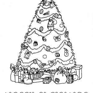 Beautiful Christmas Tree With Bunch Of Gifts Coloring Page