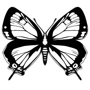 Black Wings Butterfly Coloring Page