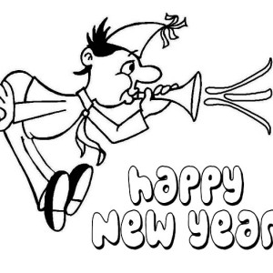 Blowing A New Years Blower On New Years Party Coloring Page