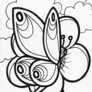 Butterfly And A Clear Sky Coloring Page