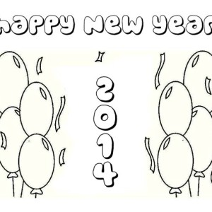 Celebrating New Year With Balloons Coloring Page