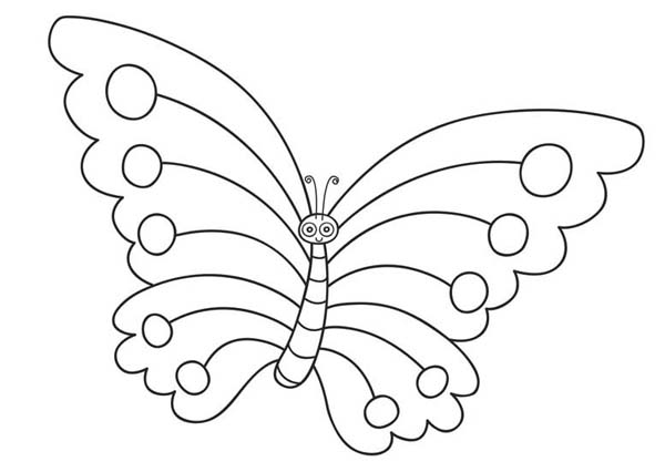 Cute Cartoon Butterfly With Skinny Shaped Coloring Page