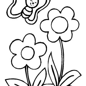 Cute Little Butterfly And Two Flowers Coloring Page