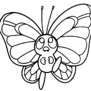 Cute Little Butterfly In A Hurry Coloring Page