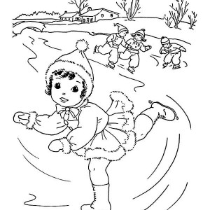 Cute Little Girl Playing Ice Skating On Winter Coloring Page