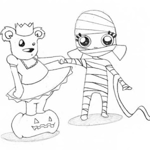 Cute Mummy Girls Free Coloring  Page Coloring Page