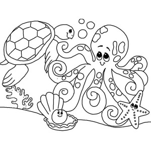 Cute Sea Animals Gathering Coloring Page
