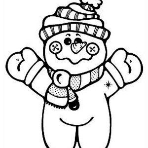 Cute Snowman Doll In Winter Outfit Coloring Page