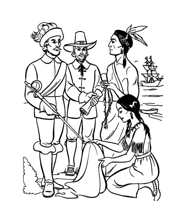 The Pilgrims Coloring pages: Pilgrims and Native Americans shared ... | 734x600