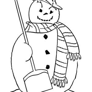 Fat Snowman With Broom And Long Scarf On Winter Coloring Page