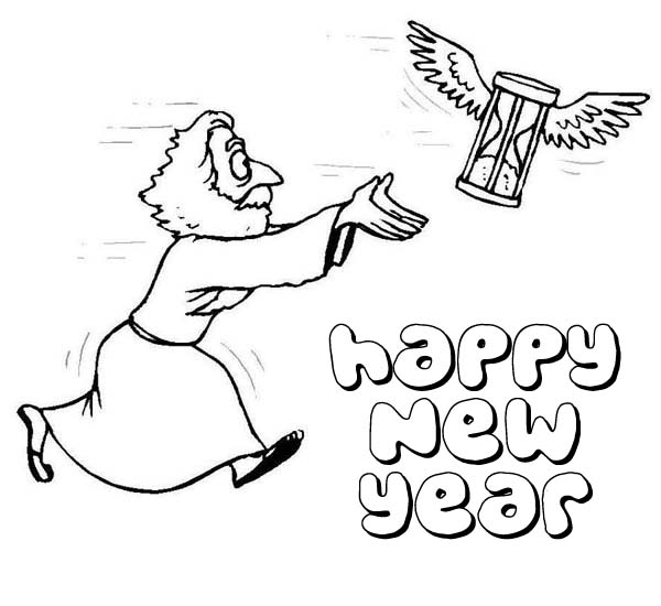 father time chasing flying hourglass on new years eve coloring page Hourglass Icon father time chasing flying hourglass on new years eve coloring page